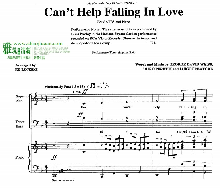 can't help falling in love 混声合唱钢琴伴奏谱