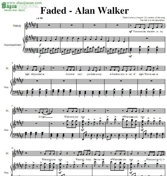 Faded钢琴伴奏谱(难) - 找教案