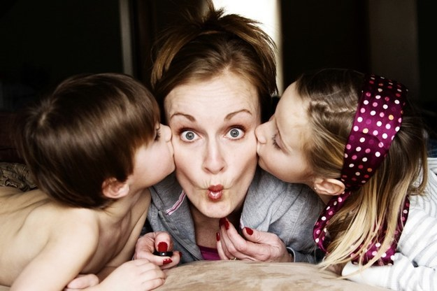 Get caught in a mommy sandwich.