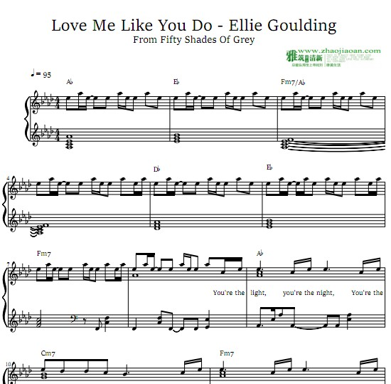 Ellie Goulding – Love Me Like You Do钢琴谱