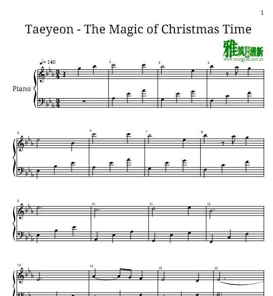 Taeyeon - The Magic of Christmas Time钢琴谱