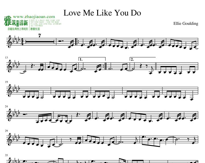Ellie Goulding - Love Me Like You Do萨克斯谱