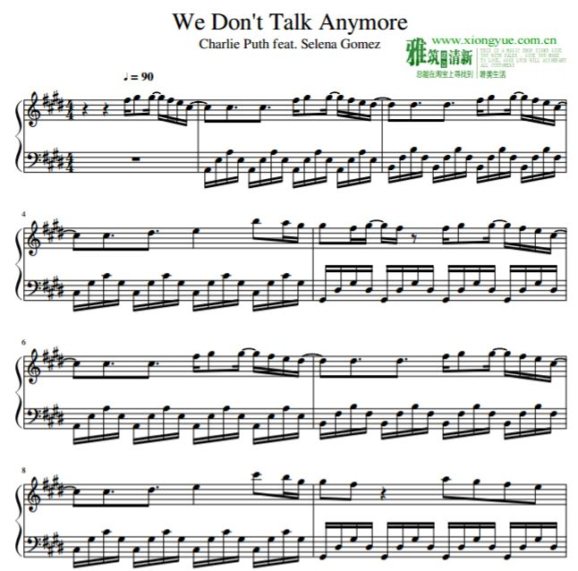 Charlie Puth查理·普斯 We Don't Talk Anymore钢琴谱