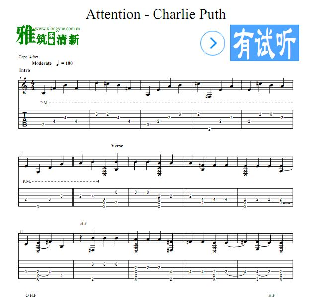 Charlie Puth - Attention吉他谱