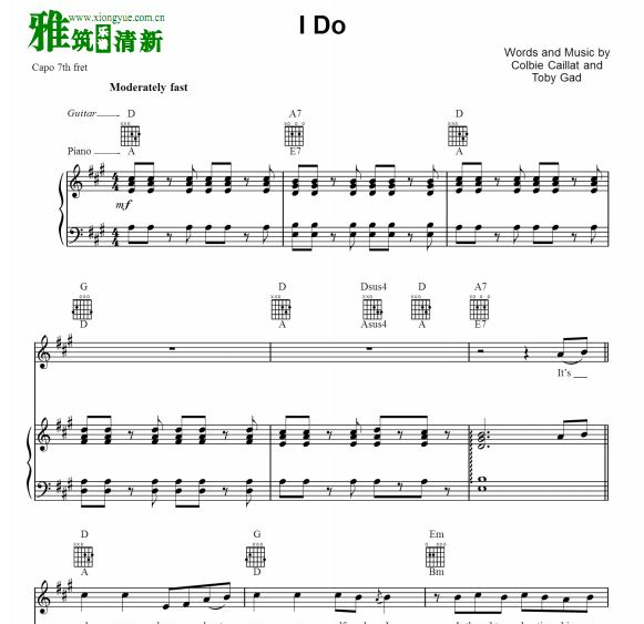 Colbie Caillat - I DO钢琴伴奏谱