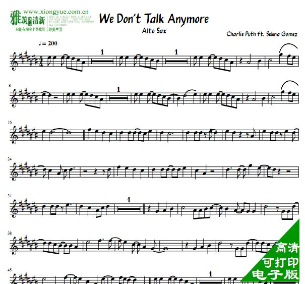 We Don't Talk Anymore 萨克斯谱 Alto Sax