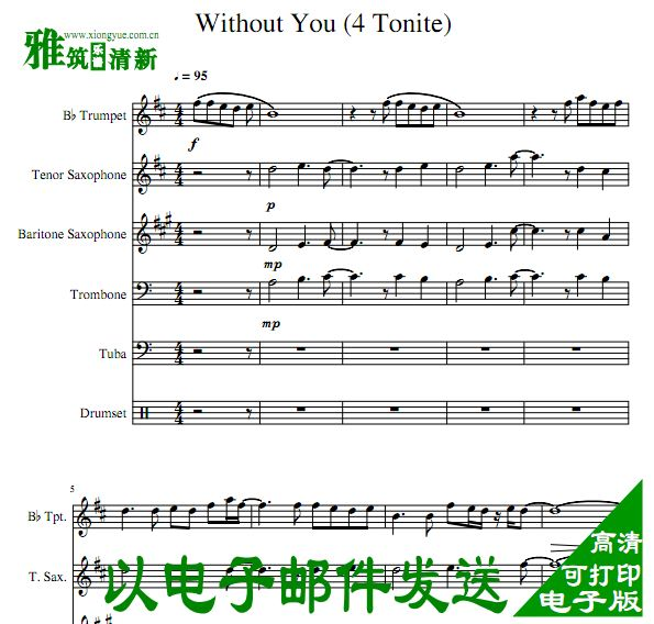 Lucky Chops - Without You管乐合奏总谱+分谱