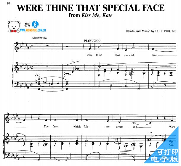 Were Thine That Special Face 你那别致的面容声乐谱 钢琴伴奏谱