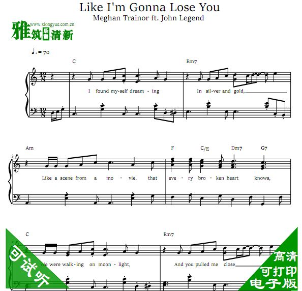 Like I'm Gonna Lose You 钢琴谱
