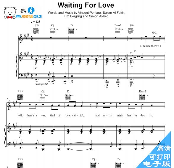Avicii - Waiting for Love 伴奏钢琴谱
