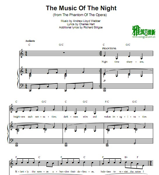 The music of the night C调 钢琴伴奏谱