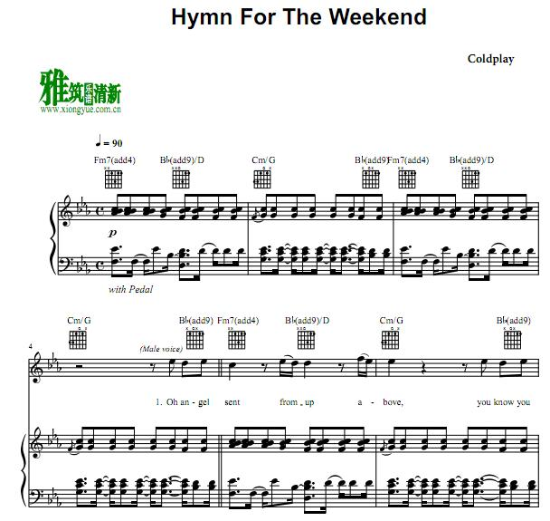 Coldplay - Hymn For The Weekend钢琴伴奏谱