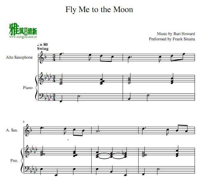 Fly Me to the Moon 中音萨克斯钢琴伴奏谱