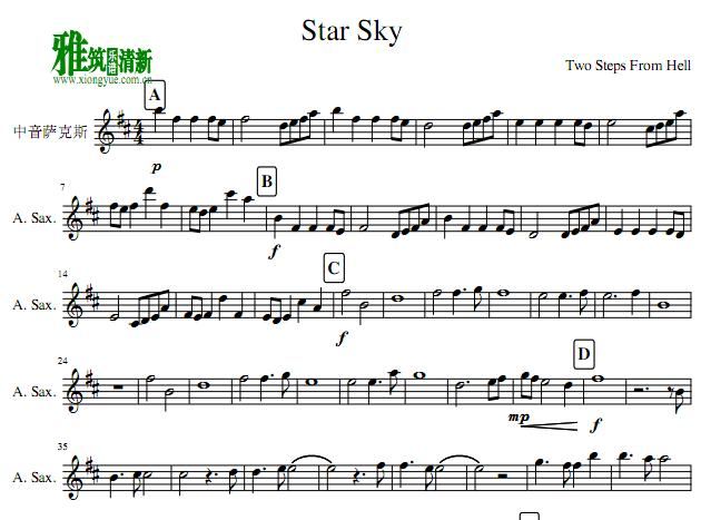 Two Steps From Hell - Star Sky萨克斯谱