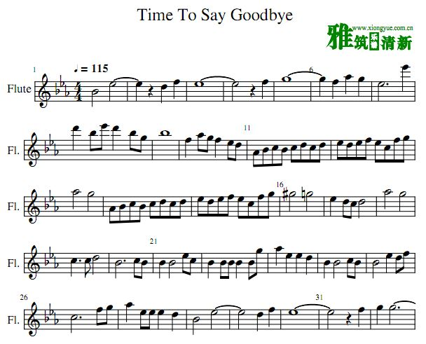 time to say goodbye 长笛谱 Con Te Partiro长笛谱