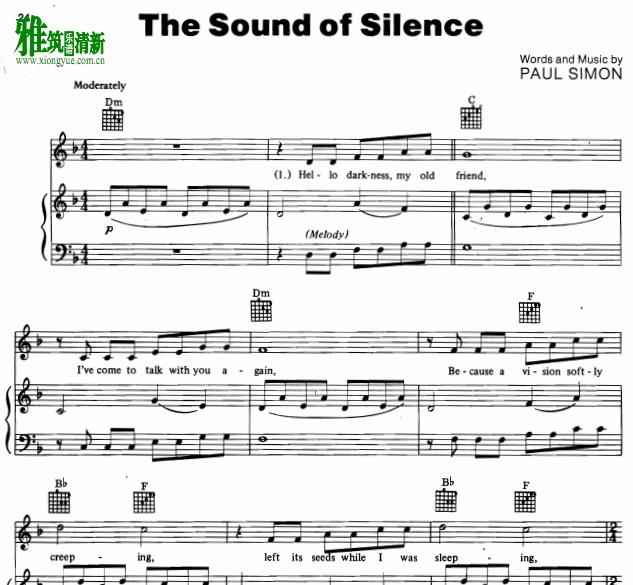 寂静之声The Sound Of Silence钢琴弹唱谱