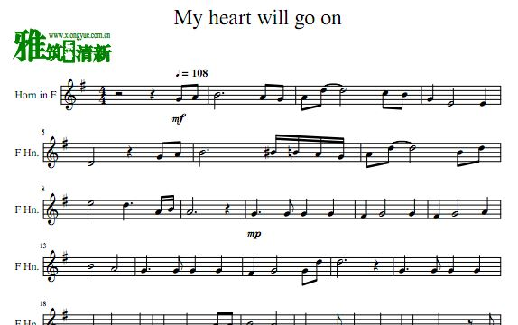My heart will go on 圆号谱