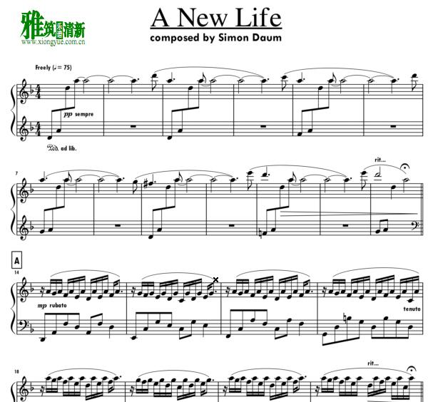 simon daum - A New Life钢琴谱