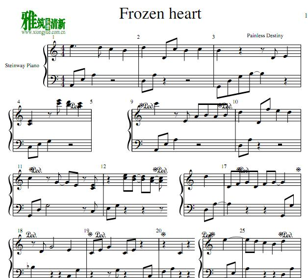 painless destiny - frozen heart钢琴谱