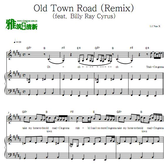 Lil Nas X - Old Town Road 钢琴谱