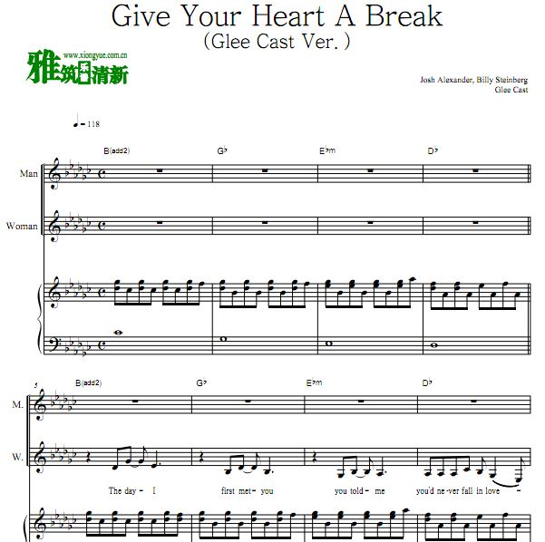 欢乐合唱团版 Give Your Heart A Break (Glee Cast Ver.)钢琴伴奏谱